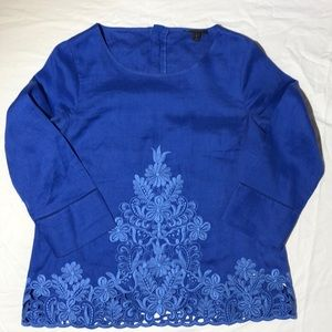 J. Crew Linen Embroidered Top. Size 2.